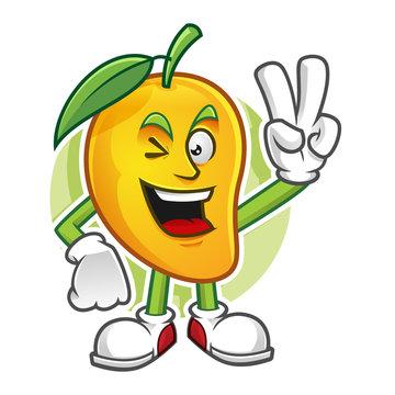 Peace mango mascot, mango character, vector of mango, mango cartoon