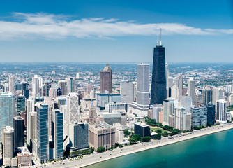 aerial view of the Chicago skyline from an helicopter