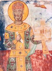 King David IV Builder XII century fresco in Gelati Monastery