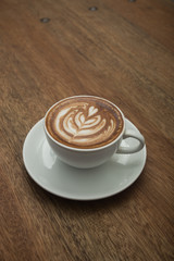 coffee on wood background.