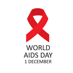 Red ribbon symbol of World AIDS Day. Vector illustration.