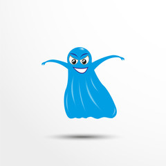 Blue cheerful ghost. Vector illustration of an animated style.