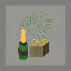 flat shading style icon fireworks champagne gift