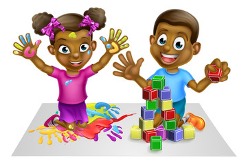 Cartoon Boy and Girl Playing
