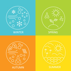 Seasons. The weather in winter, spring, summer and autumn. Round modern emblems weather all seasons. Vector illustration.