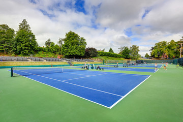 High angle view of tennis courts in Tacoma.
