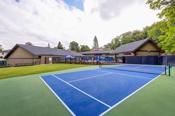 Empty tennis court in Tacoma Lawn tennis Club