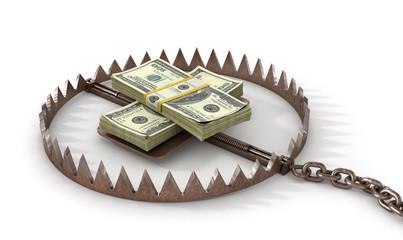 Finance risk concept. Money on bear trap. 3d illustration