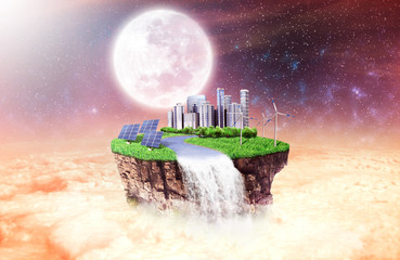 Concept of freedom. Island in sky with future city, solar panels