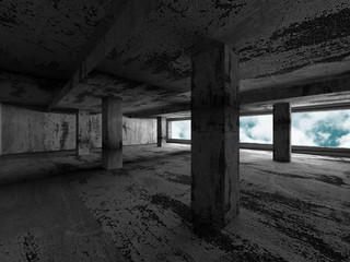 Concrete walls empty room interior. Abstract architecture with s
