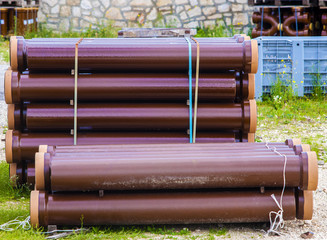 Stack sewerage tubes vitrified clay