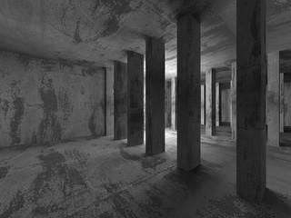 Dark concrete walls room interior. Architecture abstract backgro