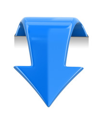 3d arrow downwards. Image with clipping path