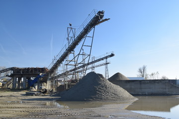 The sand or gravel from river, with elevators