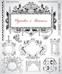 Design set with vintage vignettes, banners and labels for cards, maps, posters