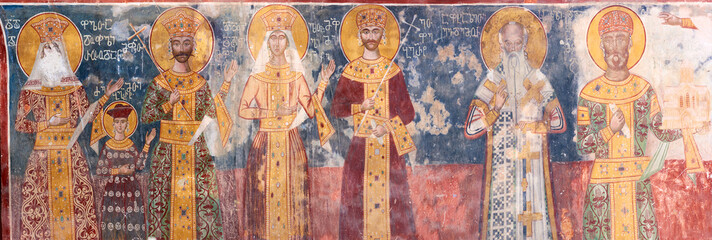 Ancient XVI century fresco in Gelati Monastery Georgia