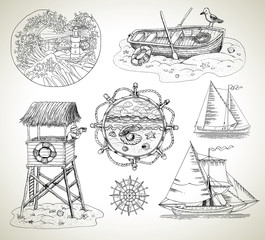 Design set with boats, light house and sea vintage elements
