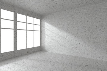 Empty spotted concrete room corner with windows