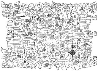 Black and white illustration of pirate map of fantasy land