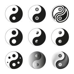 Yin Yang, Symbol Of Balance And Harmony. Set. Vector Illustratio