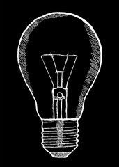 Hand-drawn lightbulb innovation concept