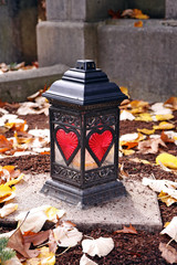 grave lantern with hearts