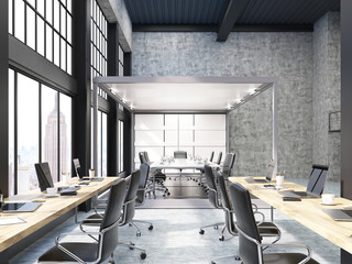 Open office with glass board room in New York