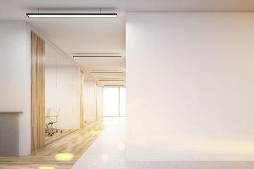 Office with blank wall and row of meeting rooms, toned