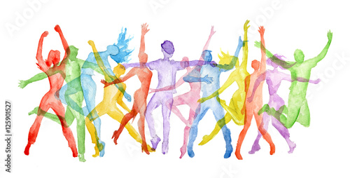 "Silhouette Dance Music Abstract Background: ""Watercolor Dance Set On White Background. Dance Poses"