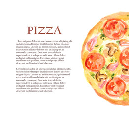 Isolated watercolor pizza on white background. Tasty italian snack or street food. Italian cuisine. Poster with text.
