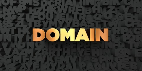 Domain - Gold text on black background - 3D rendered royalty free stock picture. This image can be used for an online website banner ad or a print postcard.