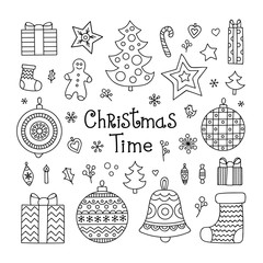 christmas elements set vector hand drawn christmas objects ball ball snowflake