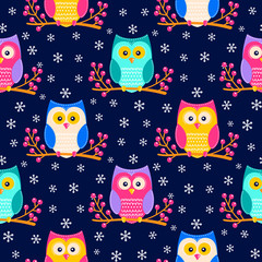 Cute flat owls sitting on a brunch with berries. Vector seamless pattern with hand drawn flat birds. Winter color owls with white doodle ornament. Nice background for kids.