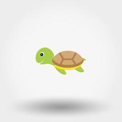 Smiling cartoon turtle.