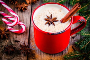 Christmas drink: eggnog with cinnamon and anise in red mug