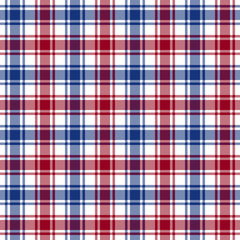 Red blue white check texture seamless pattern