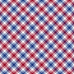 Red blue white diagonal check fabric texture seamless pattern