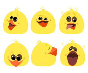 Set of emotions chicken. Different characters. Cartoon Vector