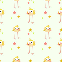 Funny texture with comic yellow bird