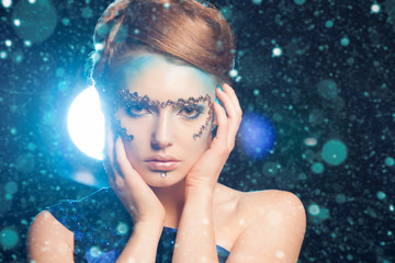 Snow Queen, creative closeup portrait