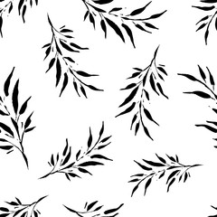 Seamless vector background with decorative branche and leaves. Print. Cloth design, wallpaper.