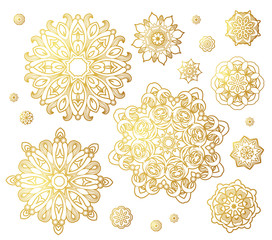 Vector set of golden round patterns.