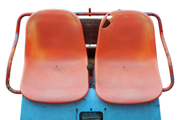 Red plastic boat  bench