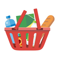 Red Shopping Basket with Different Products