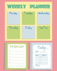 "Set of planners ""To-Do List"" for organizing a day on a pink background. Vector illustration. It can be used daily and weekly"