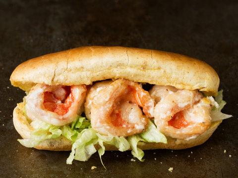 rustic american shrimp po boy sandwich