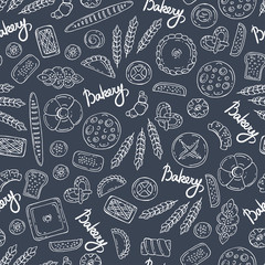 Pattern with hand drawn isolated bakery products on gray background. Pattern on the theme of food