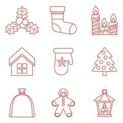 set of lines christmas icons