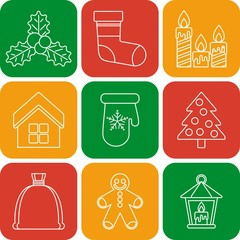 set of lines christmas icons on color