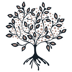 Vector hand drawn illustration, decorative ornamental stylized tree. Hand drawing colorful artistic silhouette. Graphic vector illustration. Decorative artistic ornamental wood